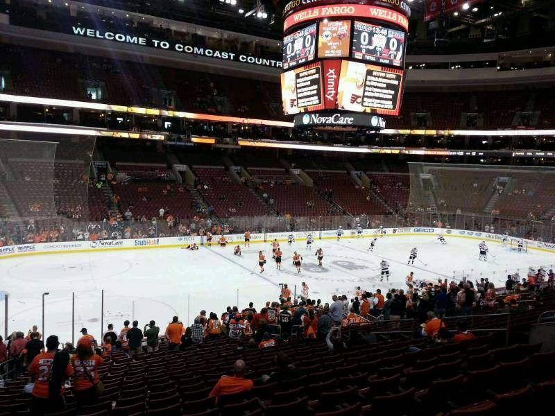 Seat view from Club Box 23 at the Wells Fargo Center, home of the Philadelphia Flyers