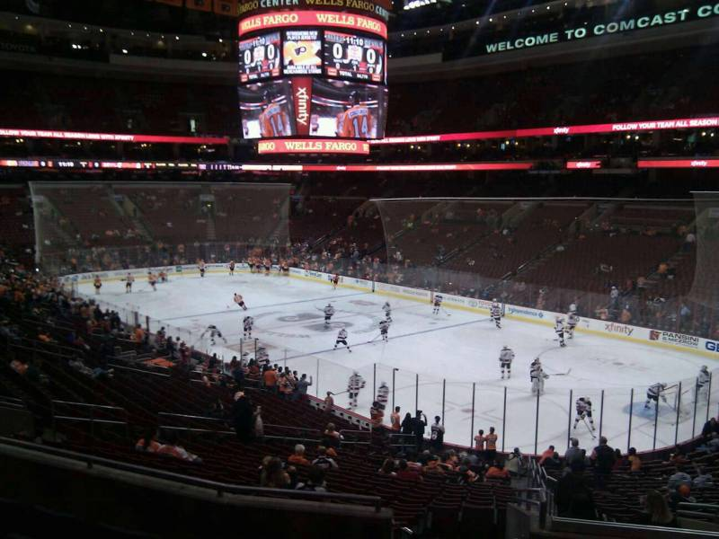 Seat view from Club Box 4 at the Wells Fargo Center, home of the Philadelphia Flyers