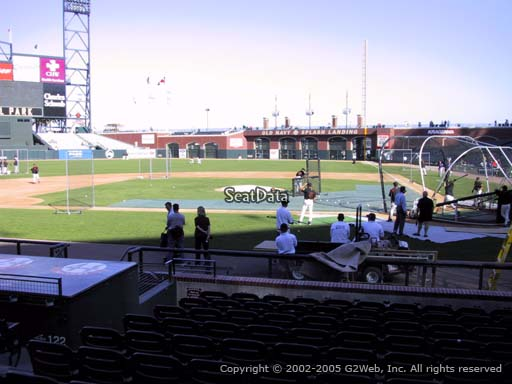 Seat view from section 121 at AT&T Park, home of the San Francisco Giants