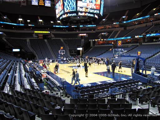 Seat view from section 108 at Fedex Forum, home of the Memphis Grizzlies.
