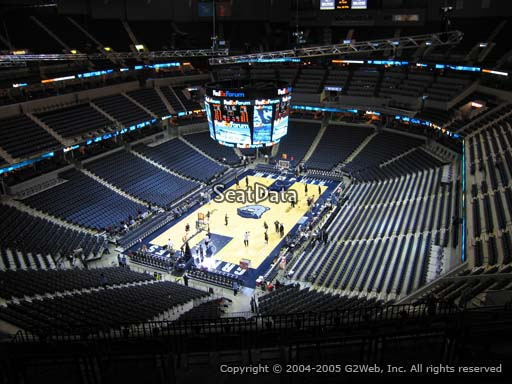 Seat view from section 203 at Fedex Forum, home of the Memphis Grizzlies.