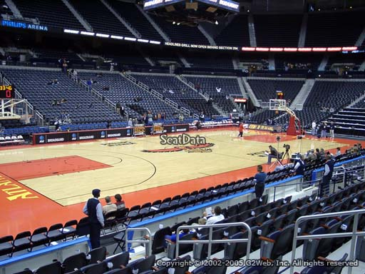 View from Section 106 at State Farm Arena, Home of the Atlanta Hawks
