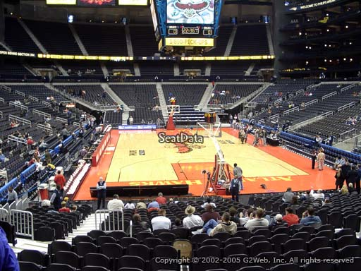 View from Section 110 at State Farm Arena, Home of the Atlanta Hawks