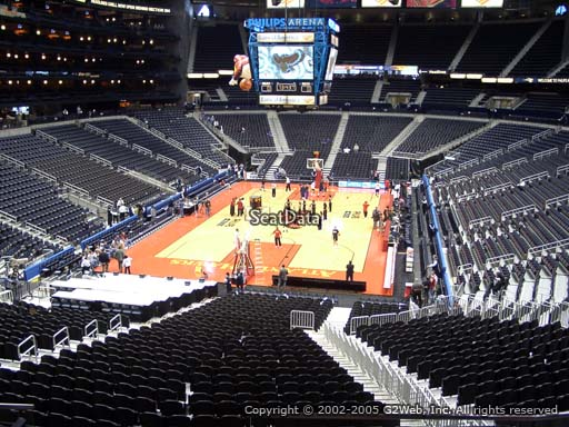 View from Section 218 at Philips Arena, Home of the Atlanta Hawks