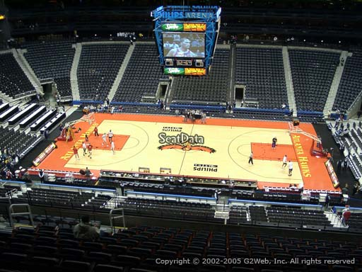 View from Section 310 at Philips Arena, Home of the Atlanta Hawks