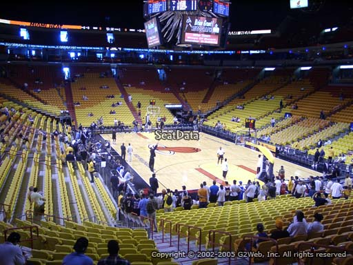 Seat view from section 102 at American Airlines Arena, home of the Miami Heat