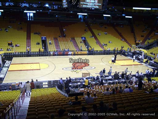 Seat view from section 107 at American Airlines Arena, home of the Miami Heat