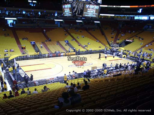 Seat view from section 108 at American Airlines Arena, home of the Miami Heat