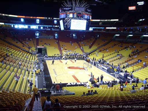 Seat view from section 114 at American Airlines Arena, home of the Miami Heat