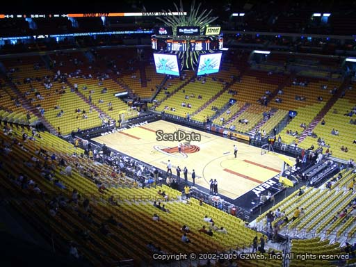 Seat view from section 305 at American Airlines Arena, home of the Miami Heat