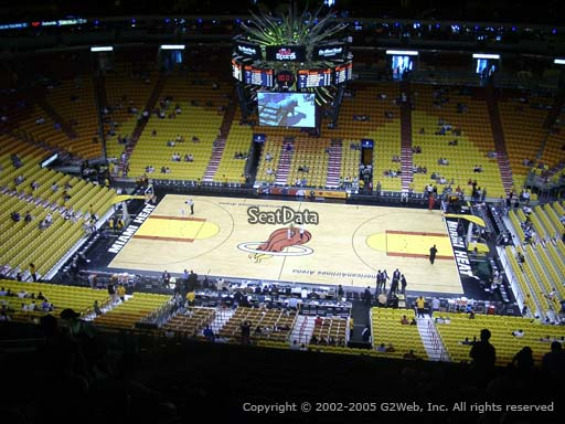 Seat view from section 308 at American Airlines Arena, home of the Miami Heat