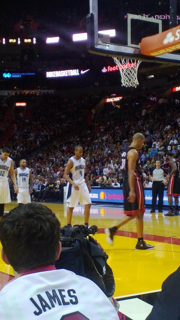 Seat view from the Courtside East Seats at American Airlines Arena, home of the Miami Heat