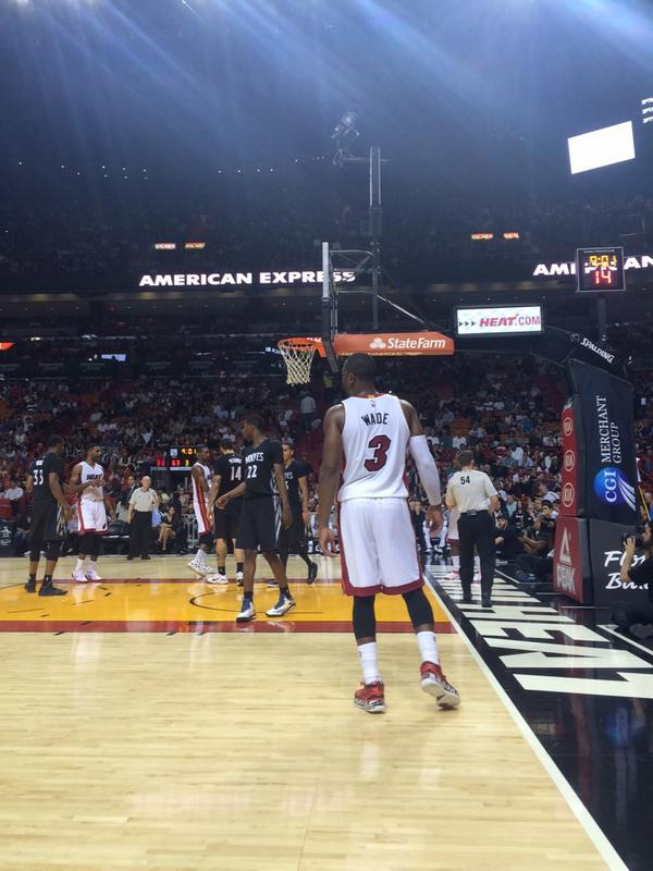 Seat View from the Courtside South Seats at American Airlines Arena, home of the Miami Heat