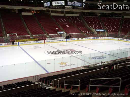 Seat view from section 121 at PNC Arena, home of the Carolina Hurricanes