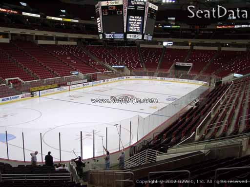 Seat view from section 124 at PNC Arena, home of the Carolina Hurricanes
