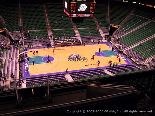 View from section 114 at Vivint Smart Home Arena, home of the Utah Jazz.