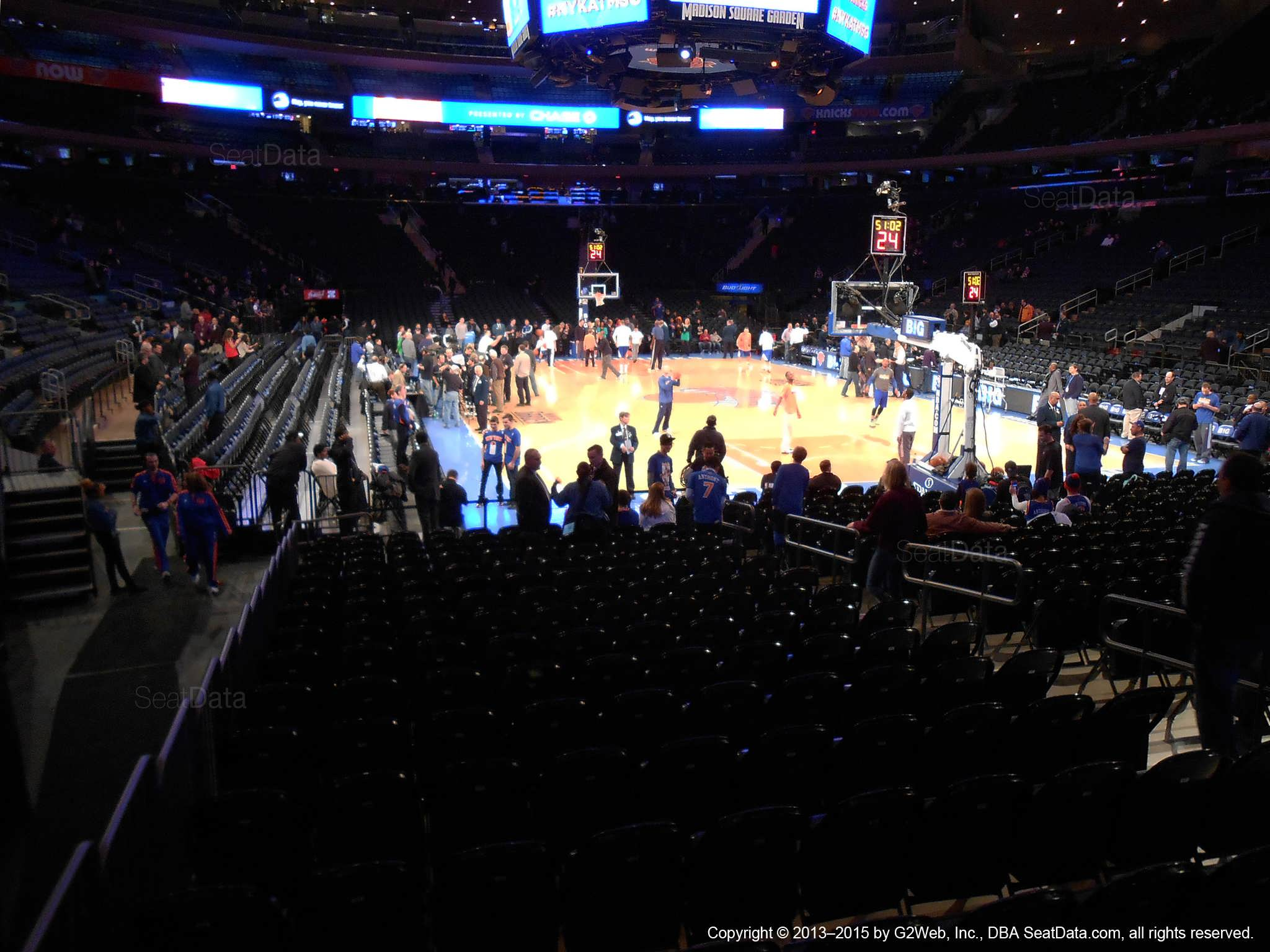Seat view from section 1 at Madison Square Garden, home of the New York Knicks.