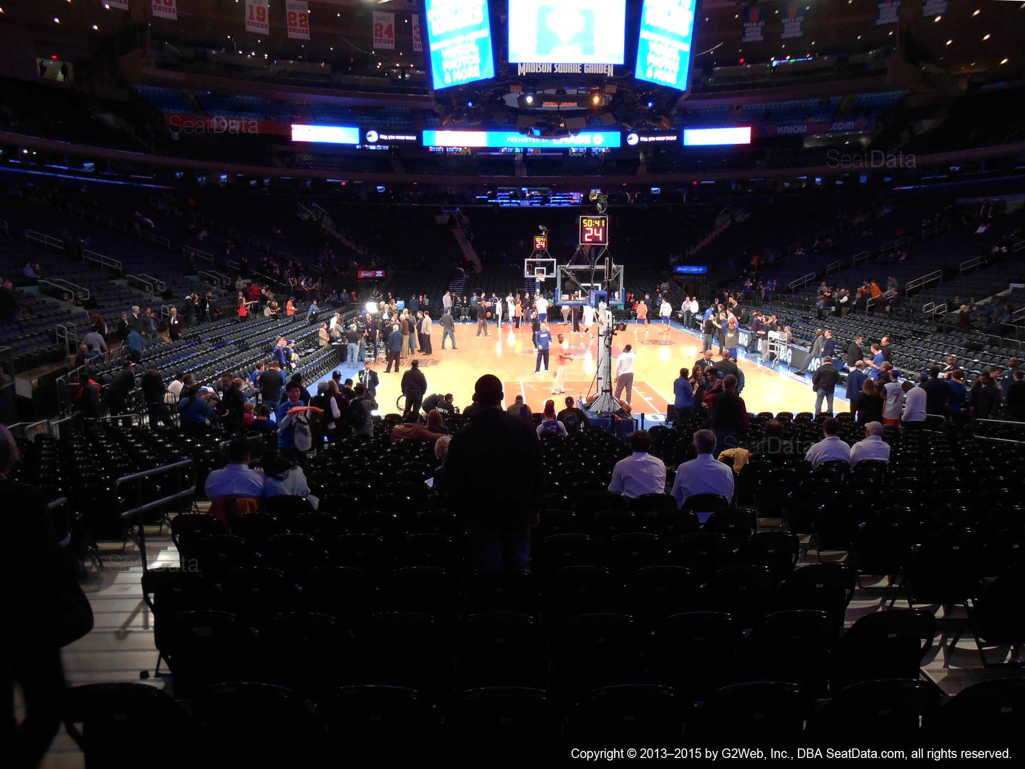 Seat view from section 2 at Madison Square Garden, home of the New York Knicks.