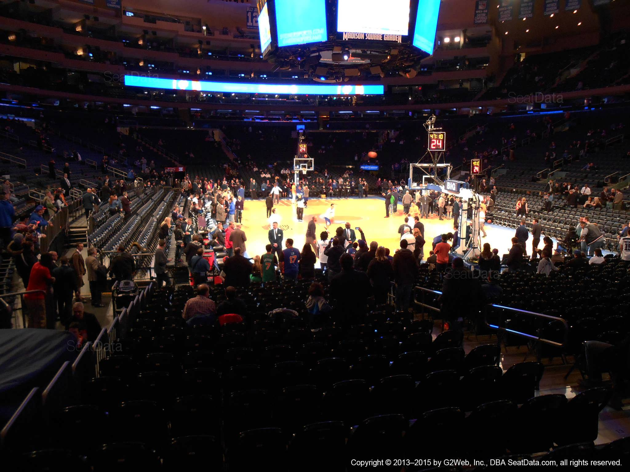 Seat view from section 7 at Madison Square Garden, home of the New York Knicks.