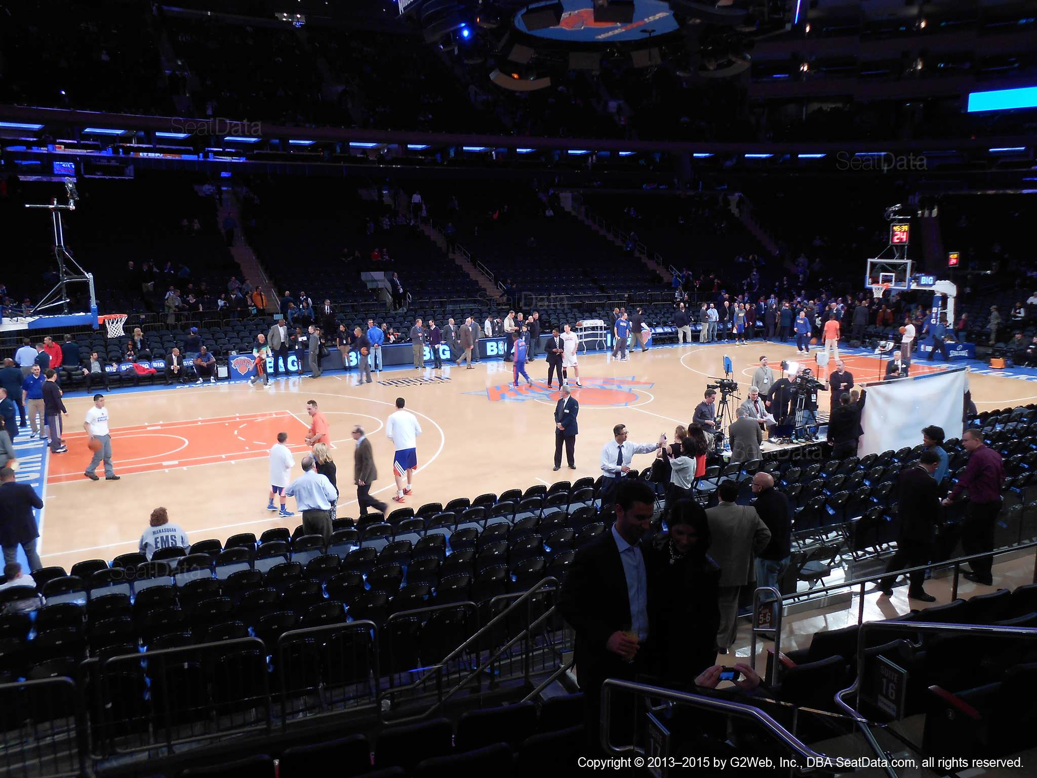 Seat view from section 10 at Madison Square Garden, home of the New York Knicks.