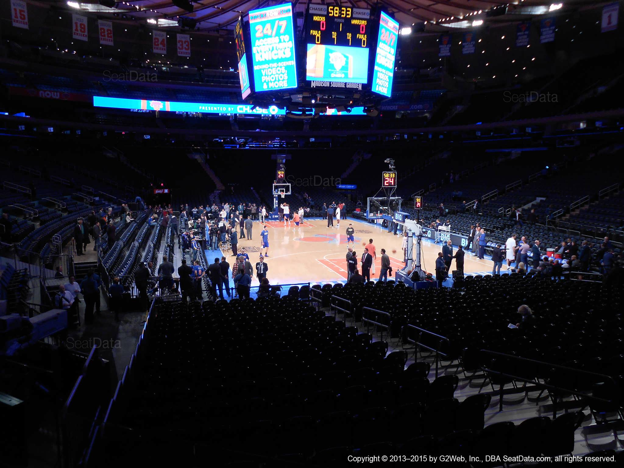 Seat view from section 101 at Madison Square Garden, home of the New York Knicks.