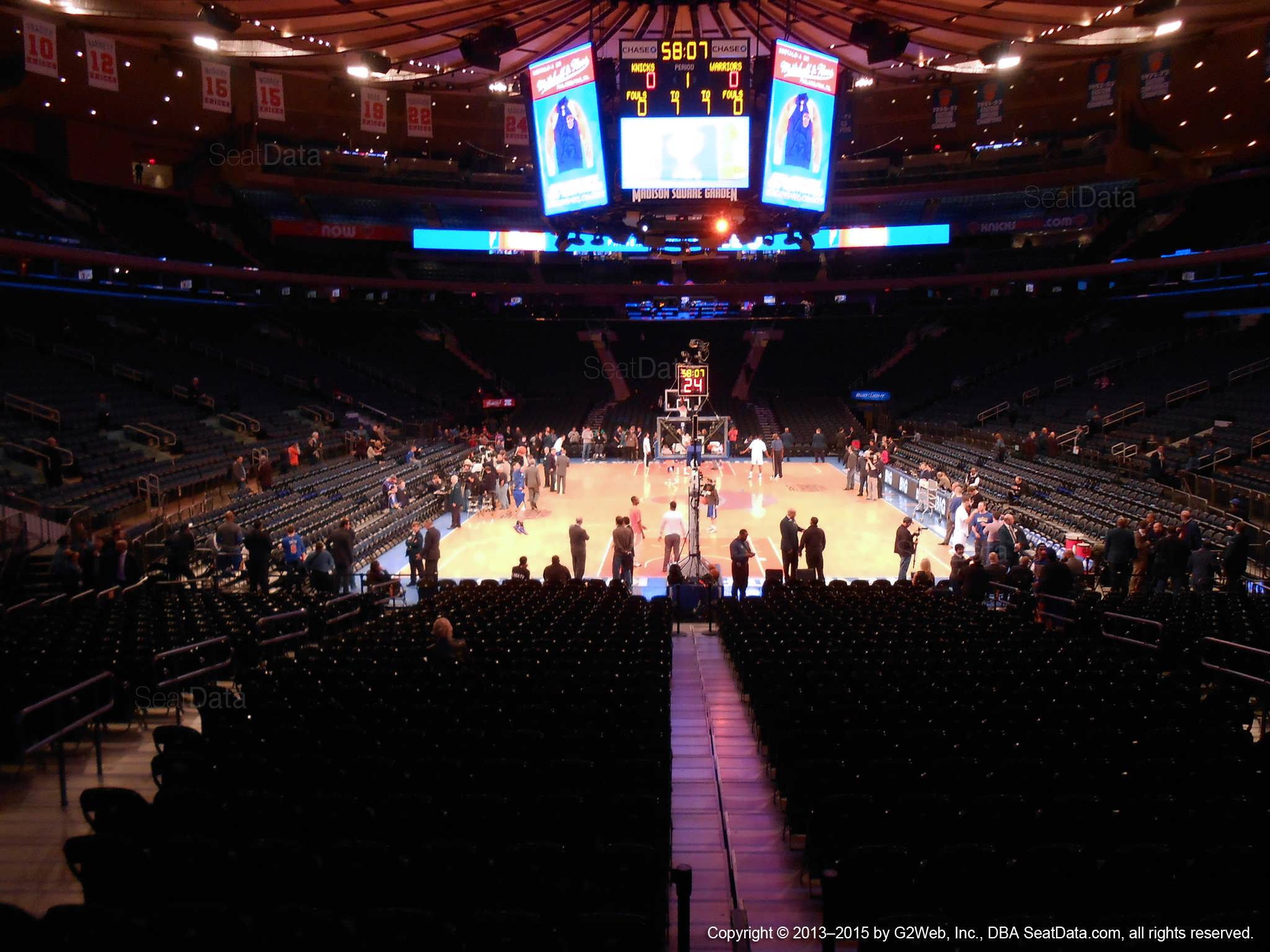 Seat view from section 102 at Madison Square Garden, home of the New York Knicks.