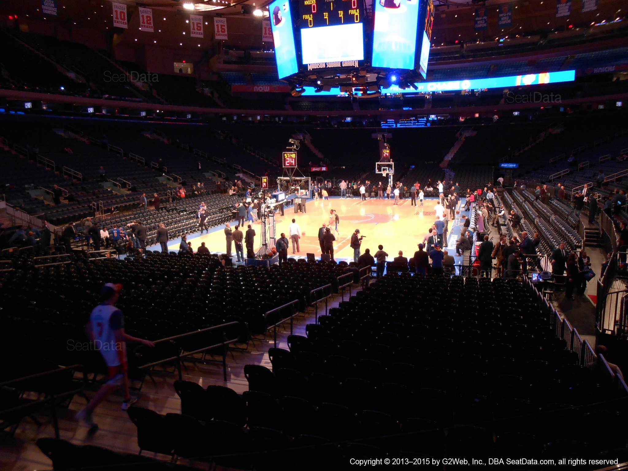 Seat view from section 103 at Madison Square Garden, home of the New York Knicks.