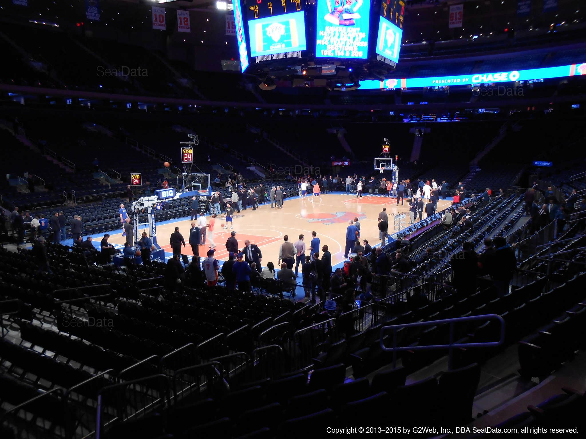 Seat view from section 104 at Madison Square Garden, home of the New York Knicks.