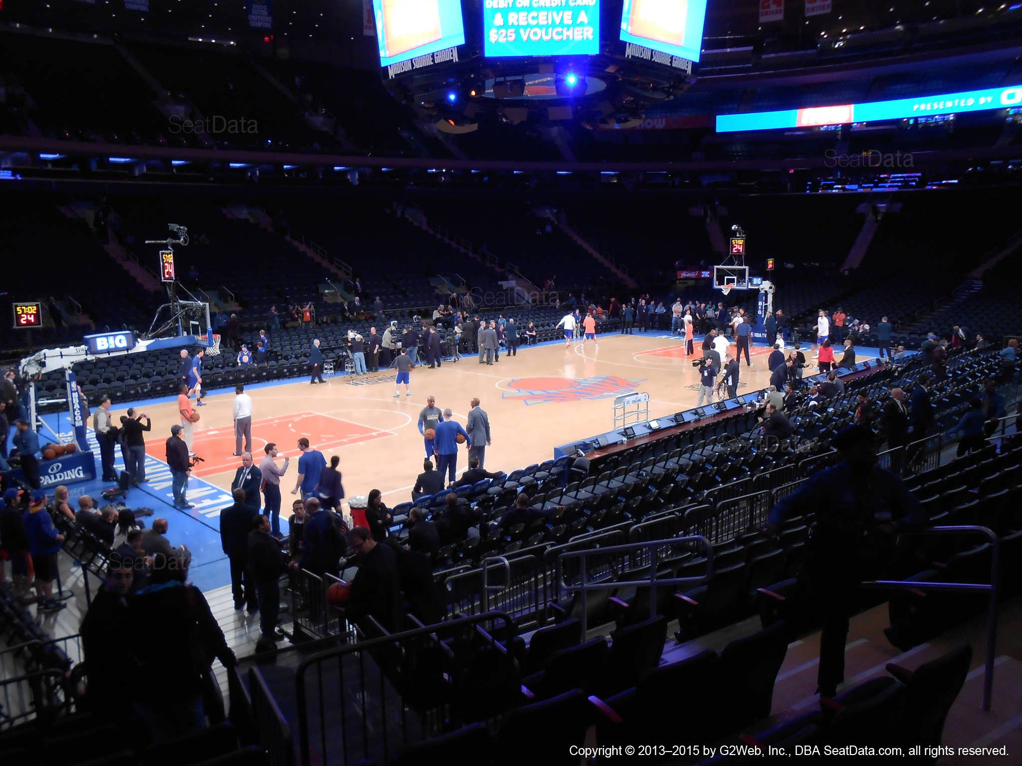 Seat view from section 105 at Madison Square Garden, home of the New York Knicks.
