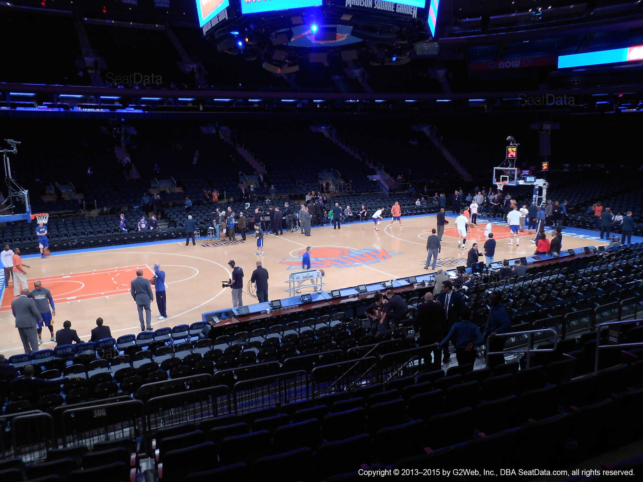 Seat view from section 106 at Madison Square Garden, home of the New York Knicks.