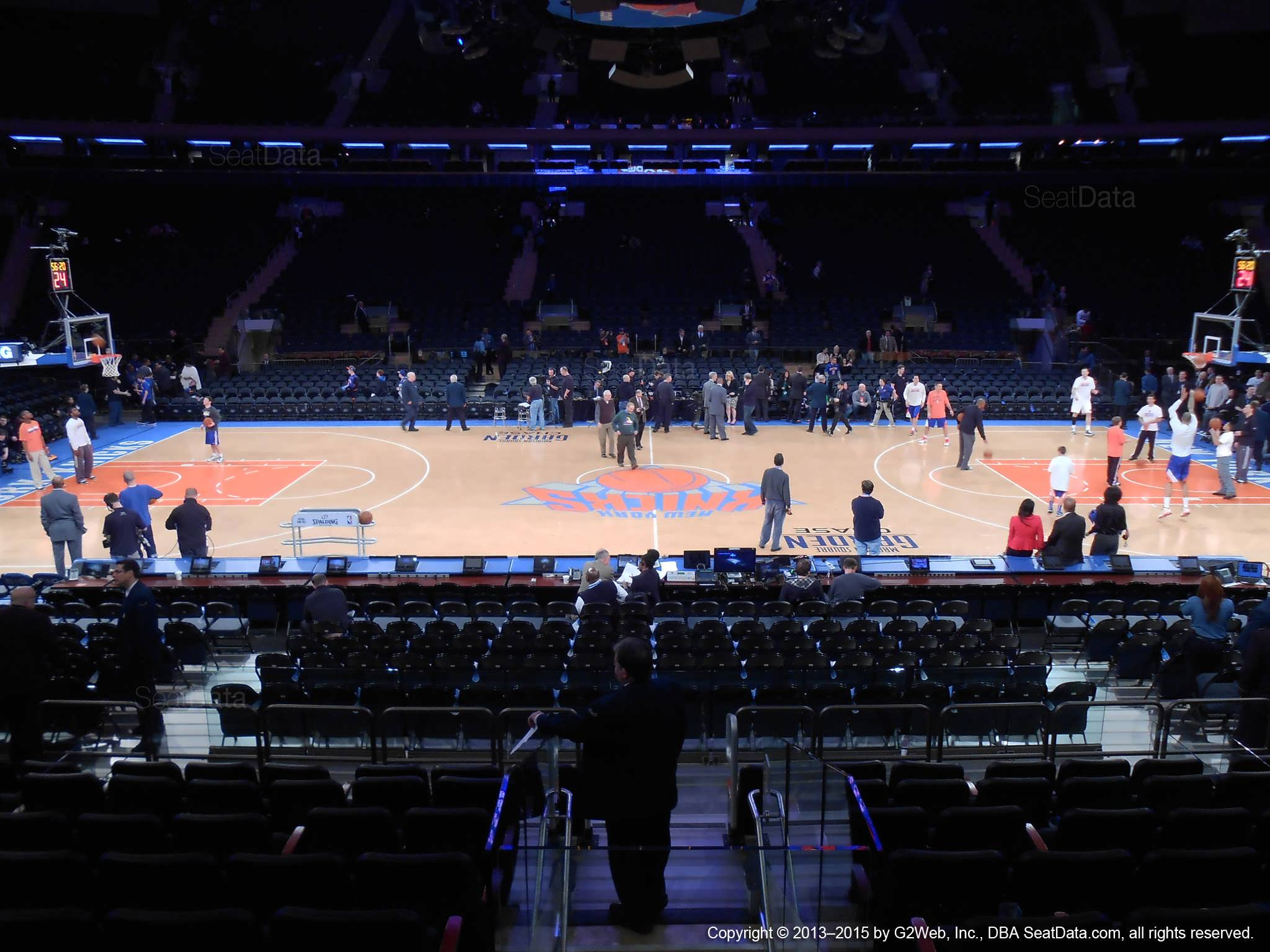 Seat view from section 107 at Madison Square Garden, home of the New York Knicks.