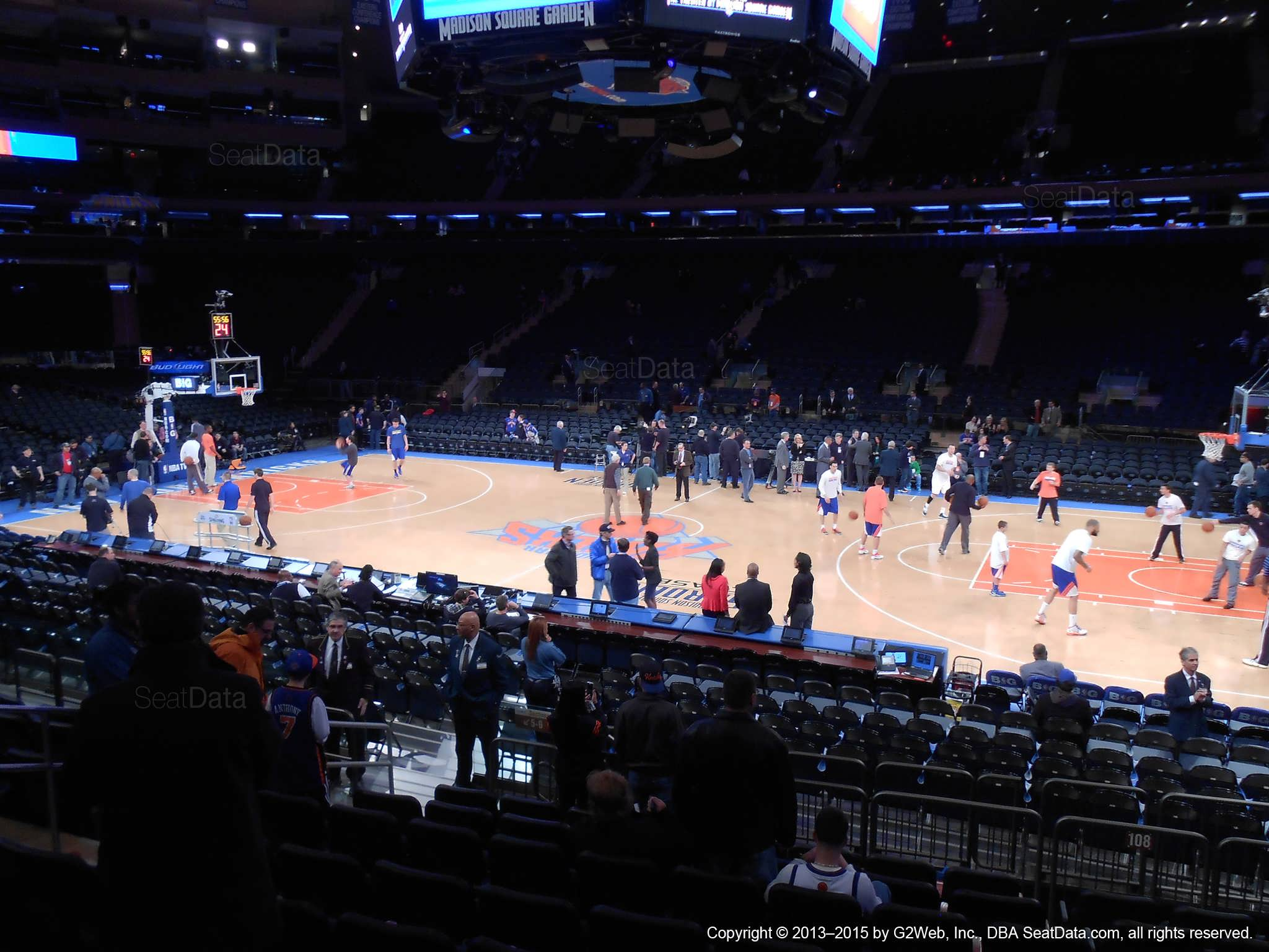 Seat view from section 108 at Madison Square Garden, home of the New York Knicks.