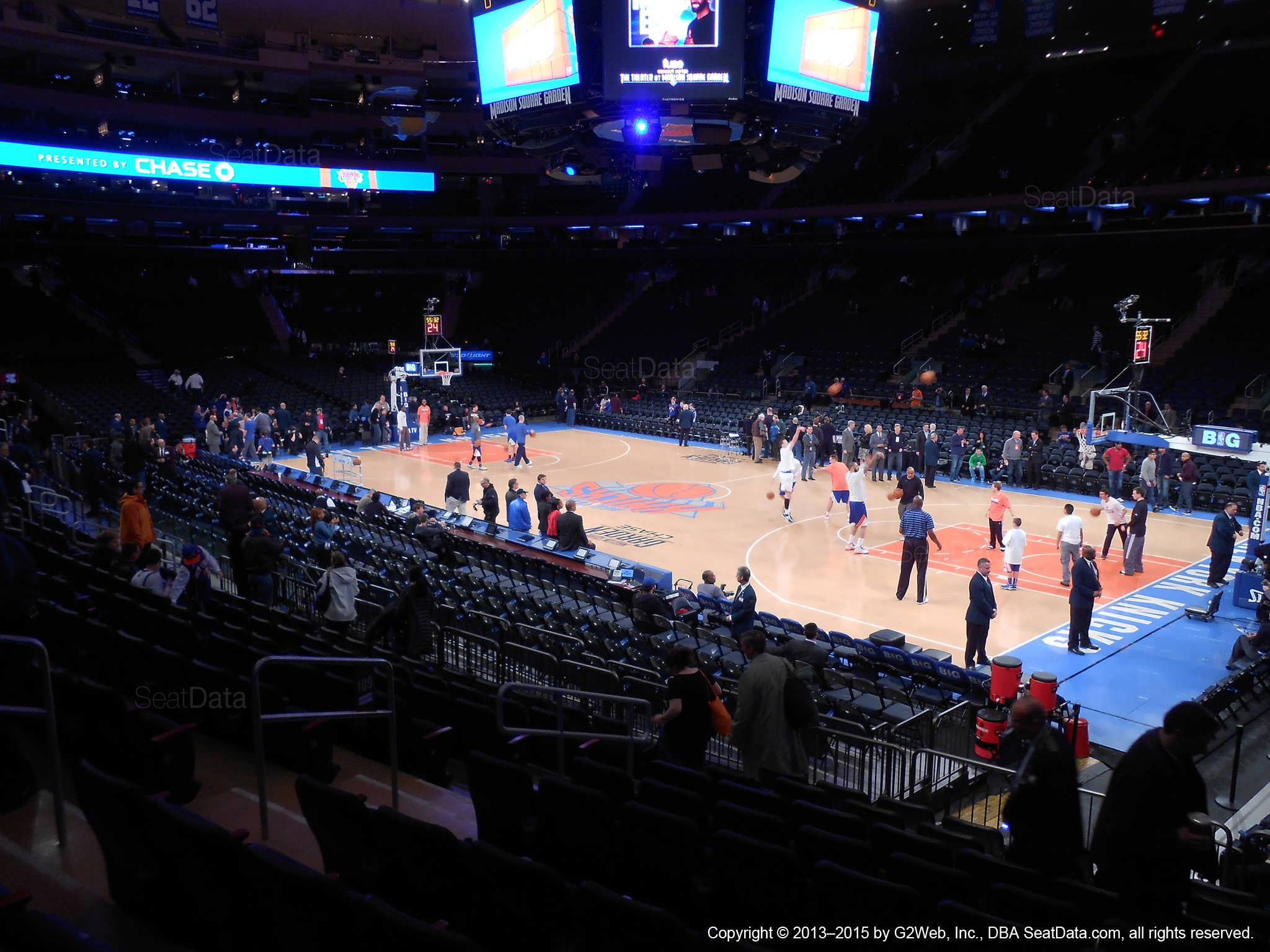 Seat view from section 109 at Madison Square Garden, home of the New York Knicks.