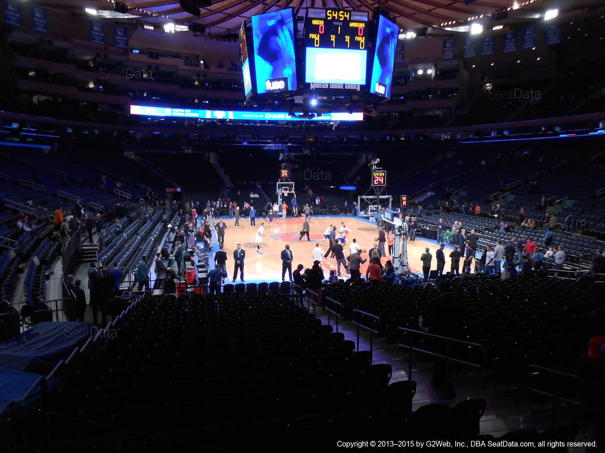 Seat view from section 111 at Madison Square Garden, home of the New York Knicks.
