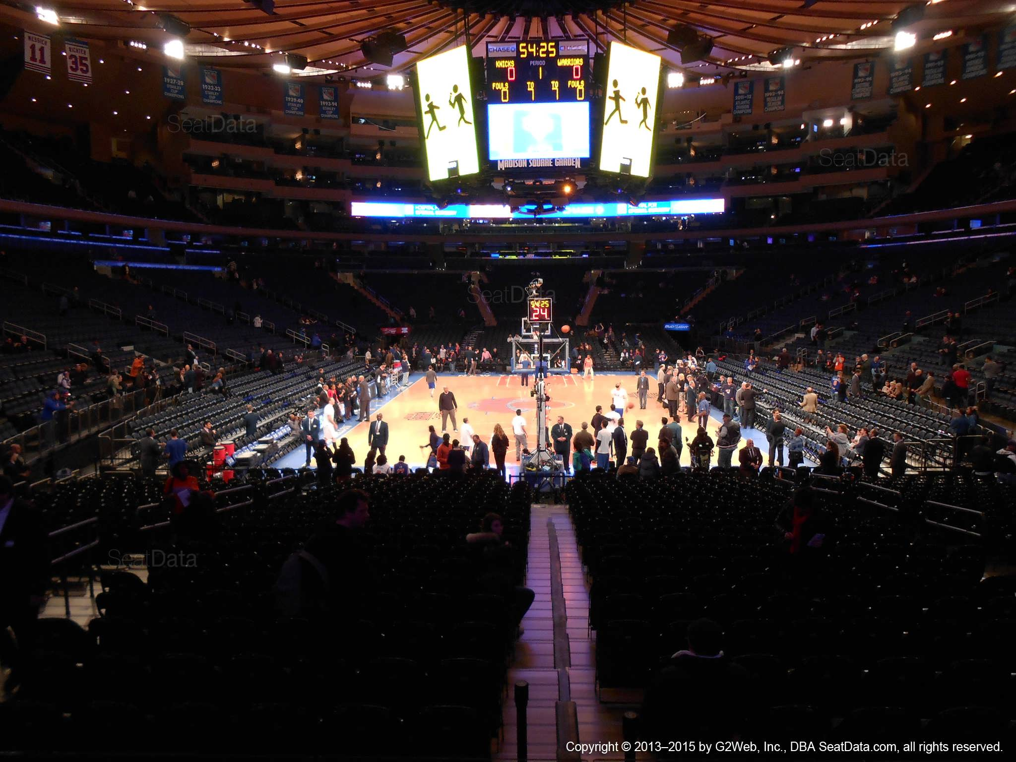 Seat view from section 112 at Madison Square Garden, home of the New York Knicks.