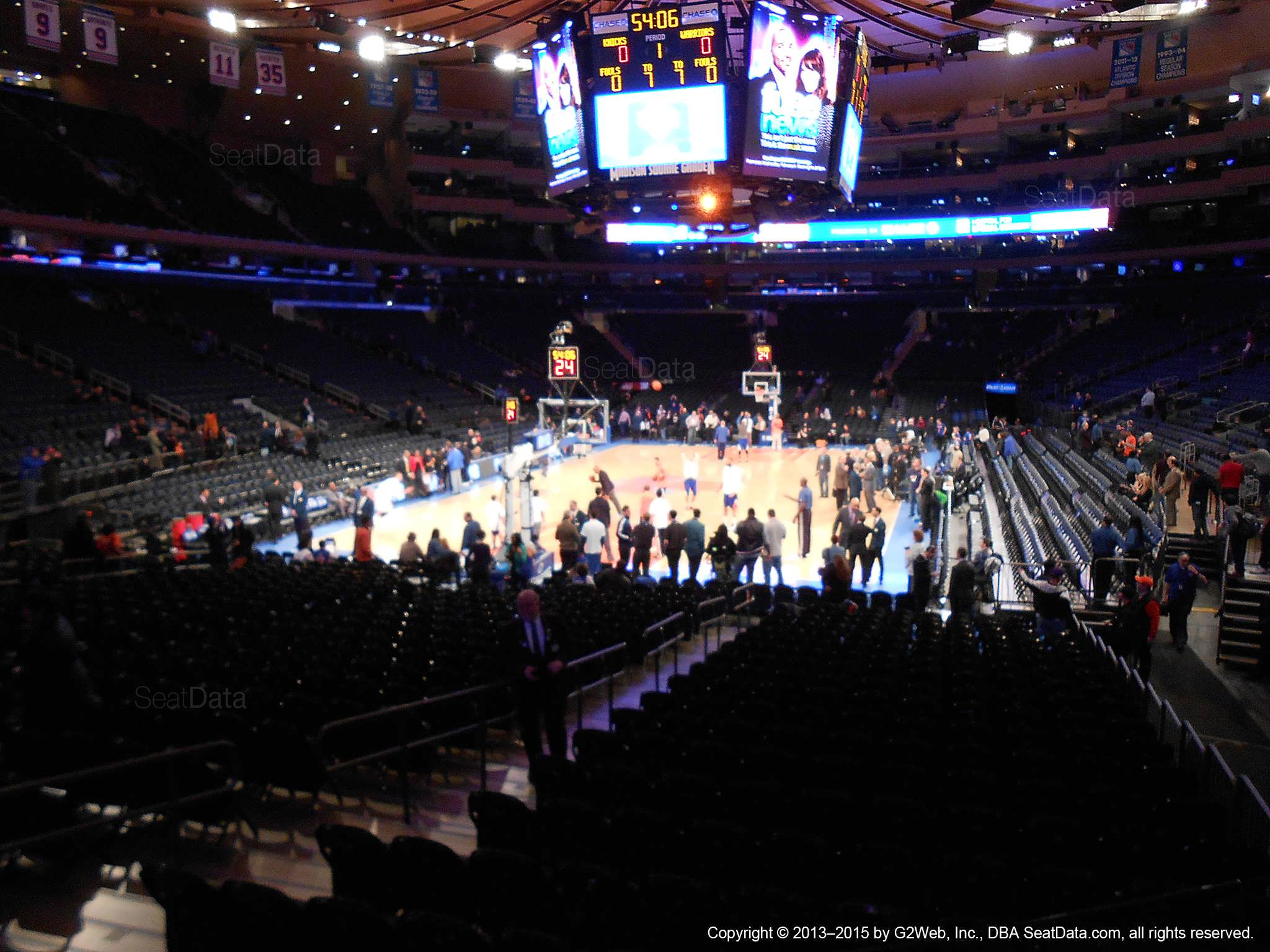 Seat view from section 113 at Madison Square Garden, home of the New York Knicks.