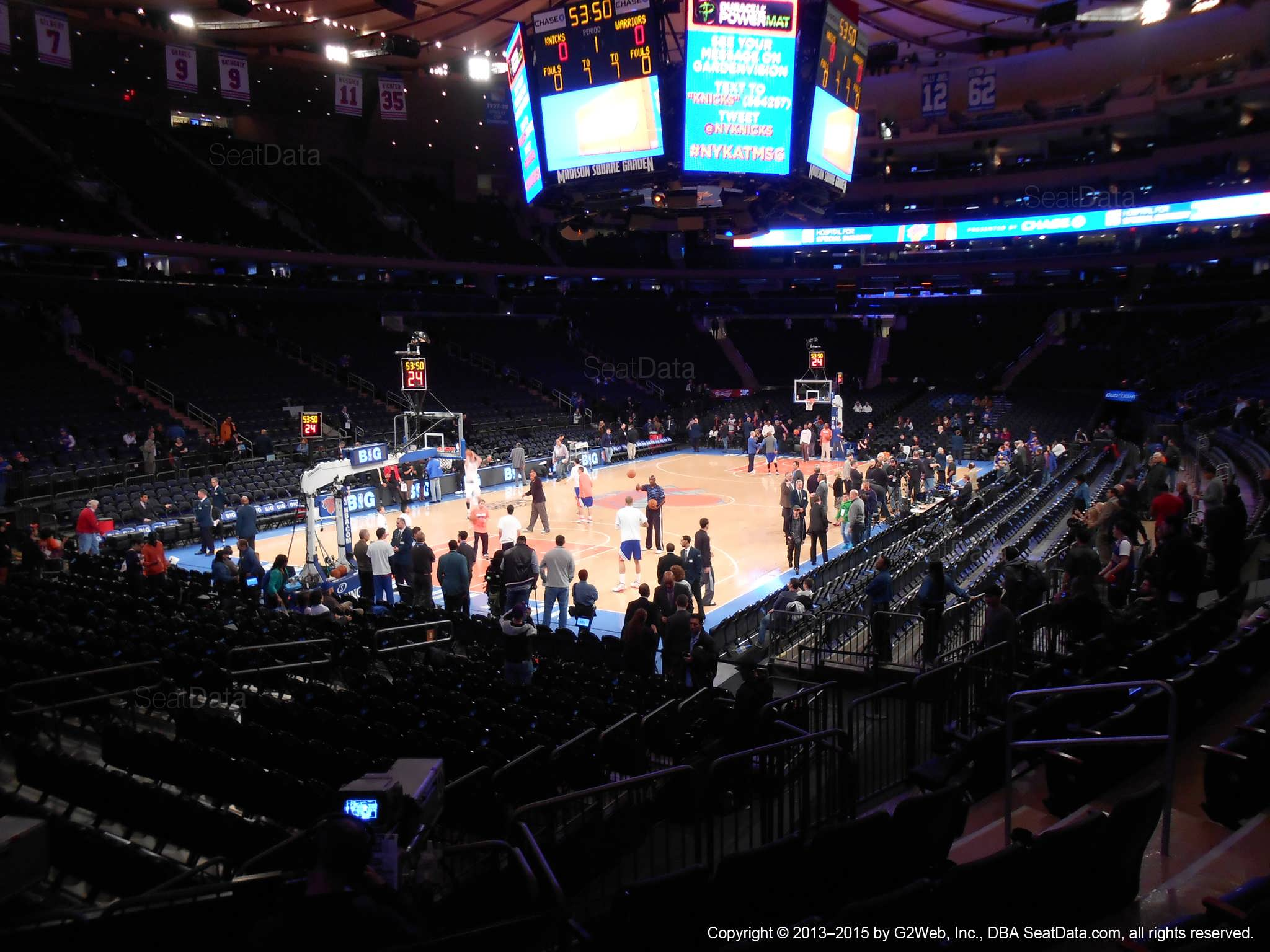 Seat view from section 114 at Madison Square Garden, home of the New York Knicks.