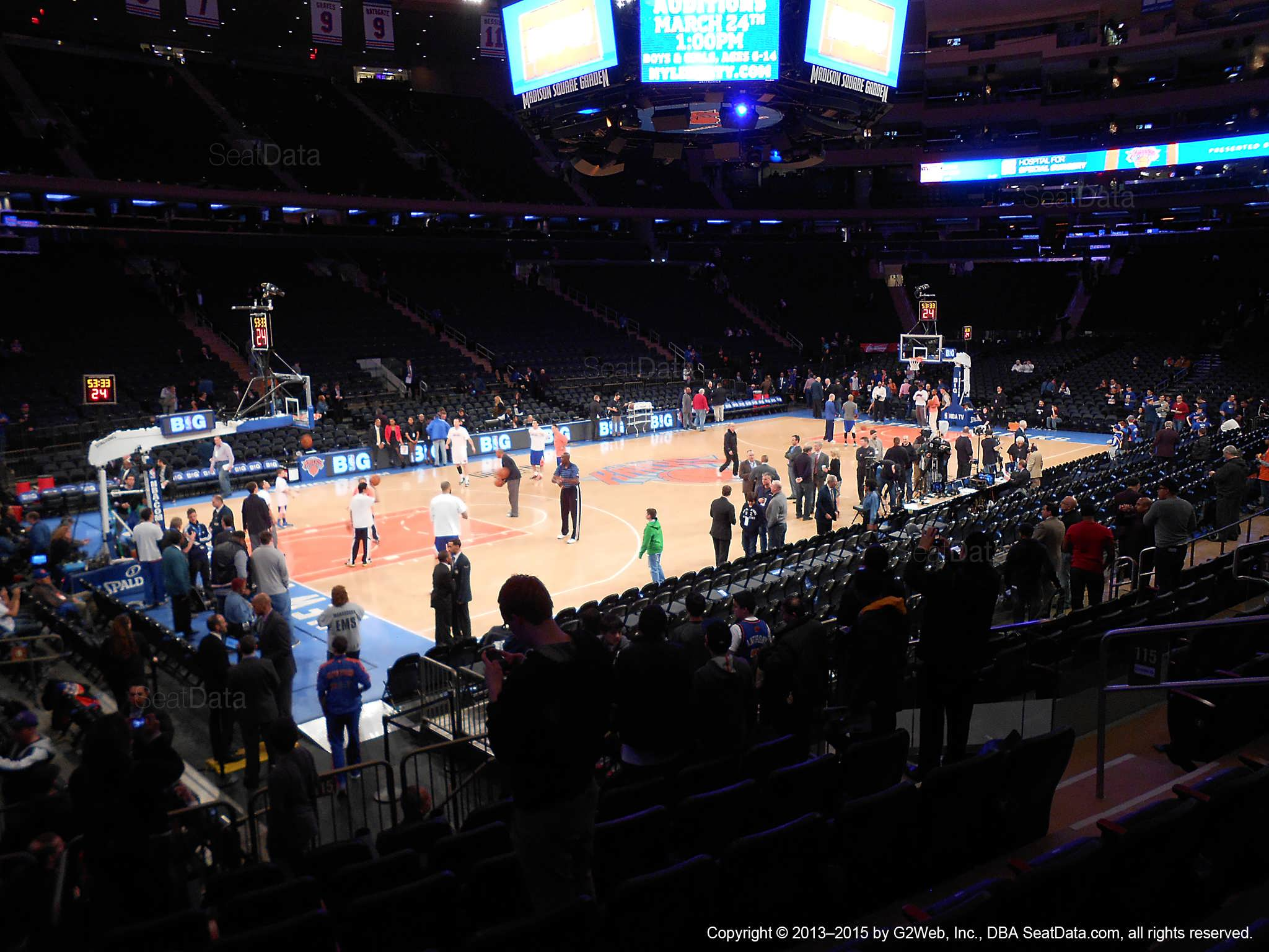 Seat view from section 115 at Madison Square Garden, home of the New York Knicks.