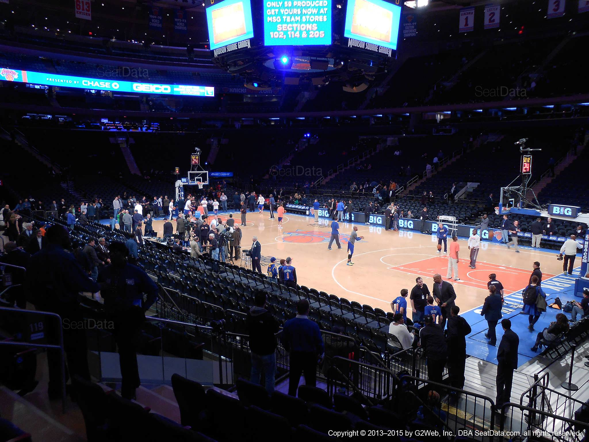 Seat view from section 119 at Madison Square Garden, home of the New York Knicks.