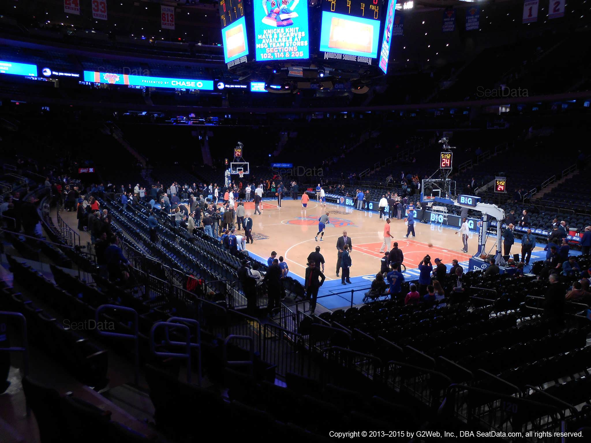 Seat view from section 120 at Madison Square Garden, home of the New York Knicks.
