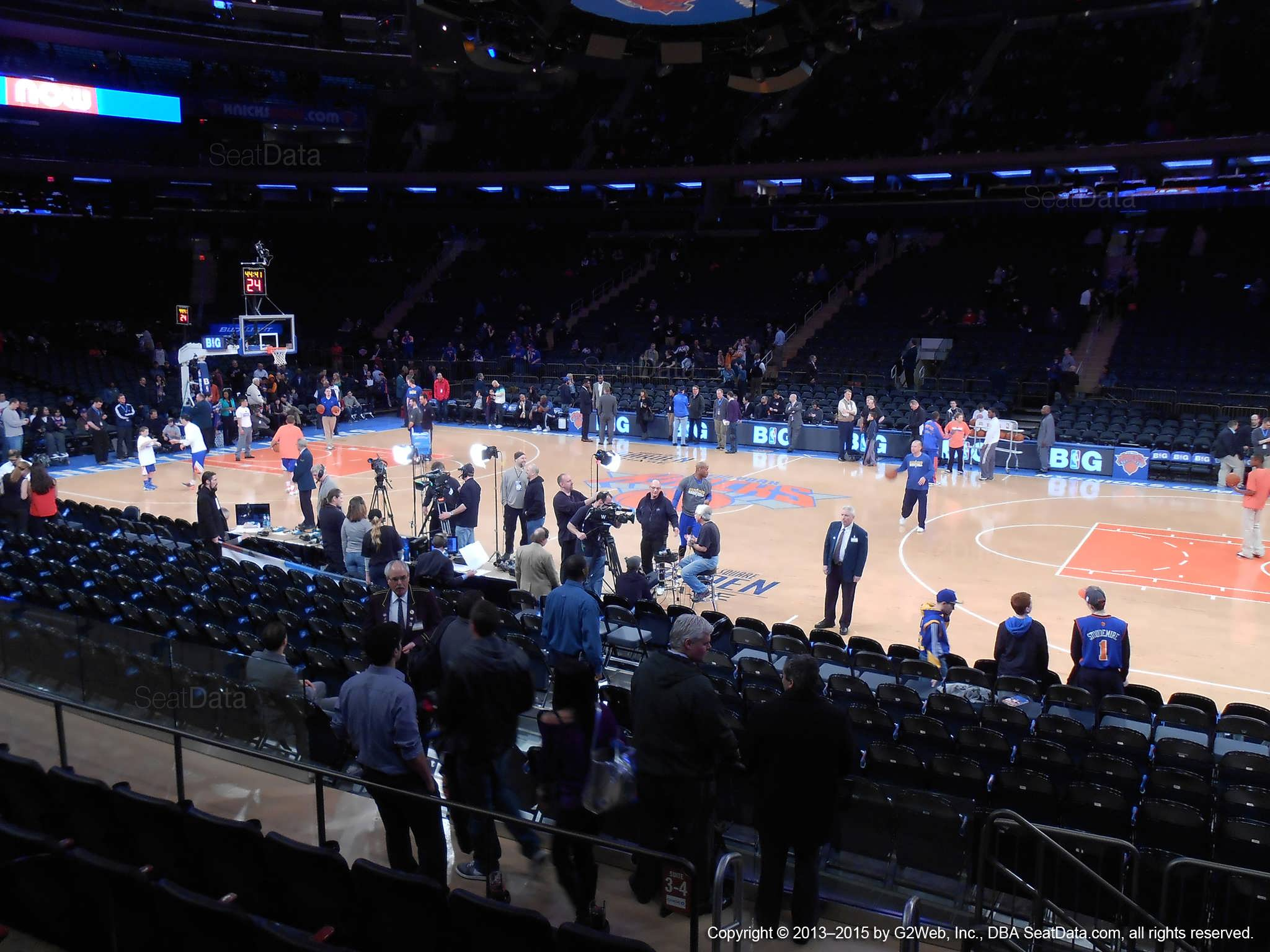 Seat view from section 12 at Madison Square Garden, home of the New York Knicks.