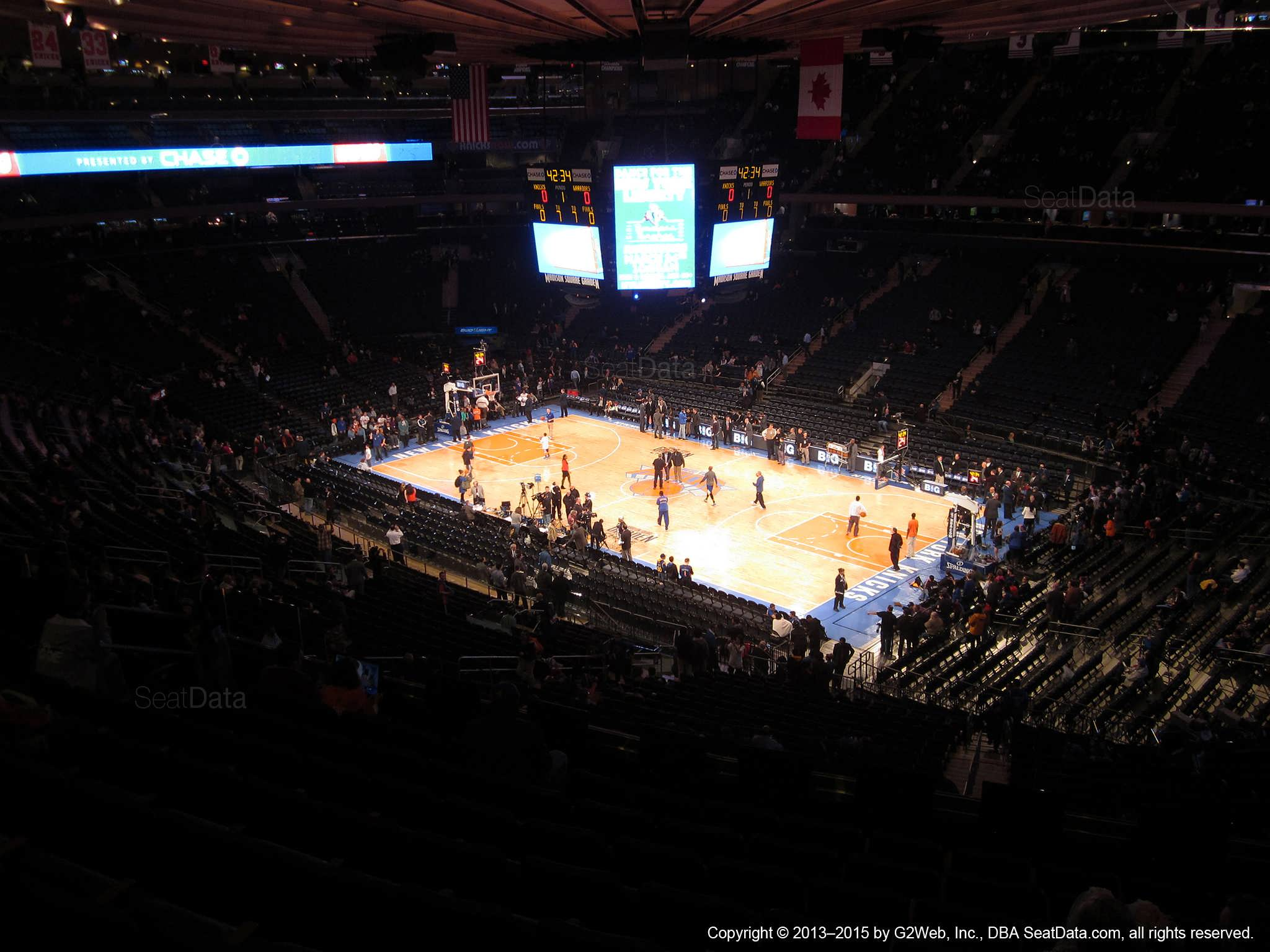 Seat view from section 201 at Madison Square Garden, home of the New York Knicks.