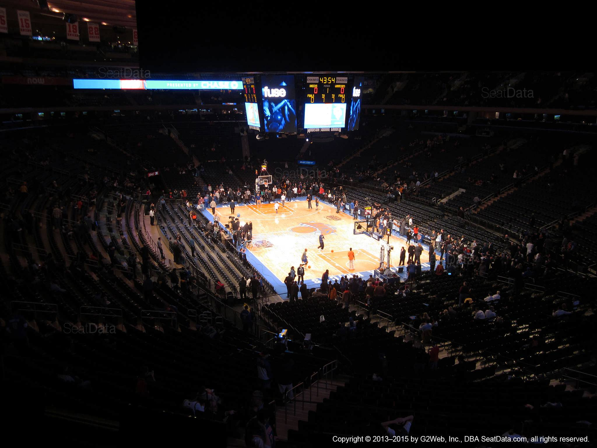 Seat view from section 203 at Madison Square Garden, home of the New York Knicks.