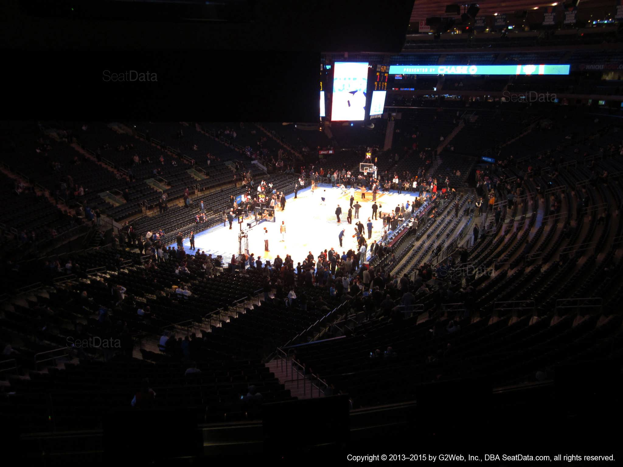 Seat view from section 206 at Madison Square Garden, home of the New York Knicks.