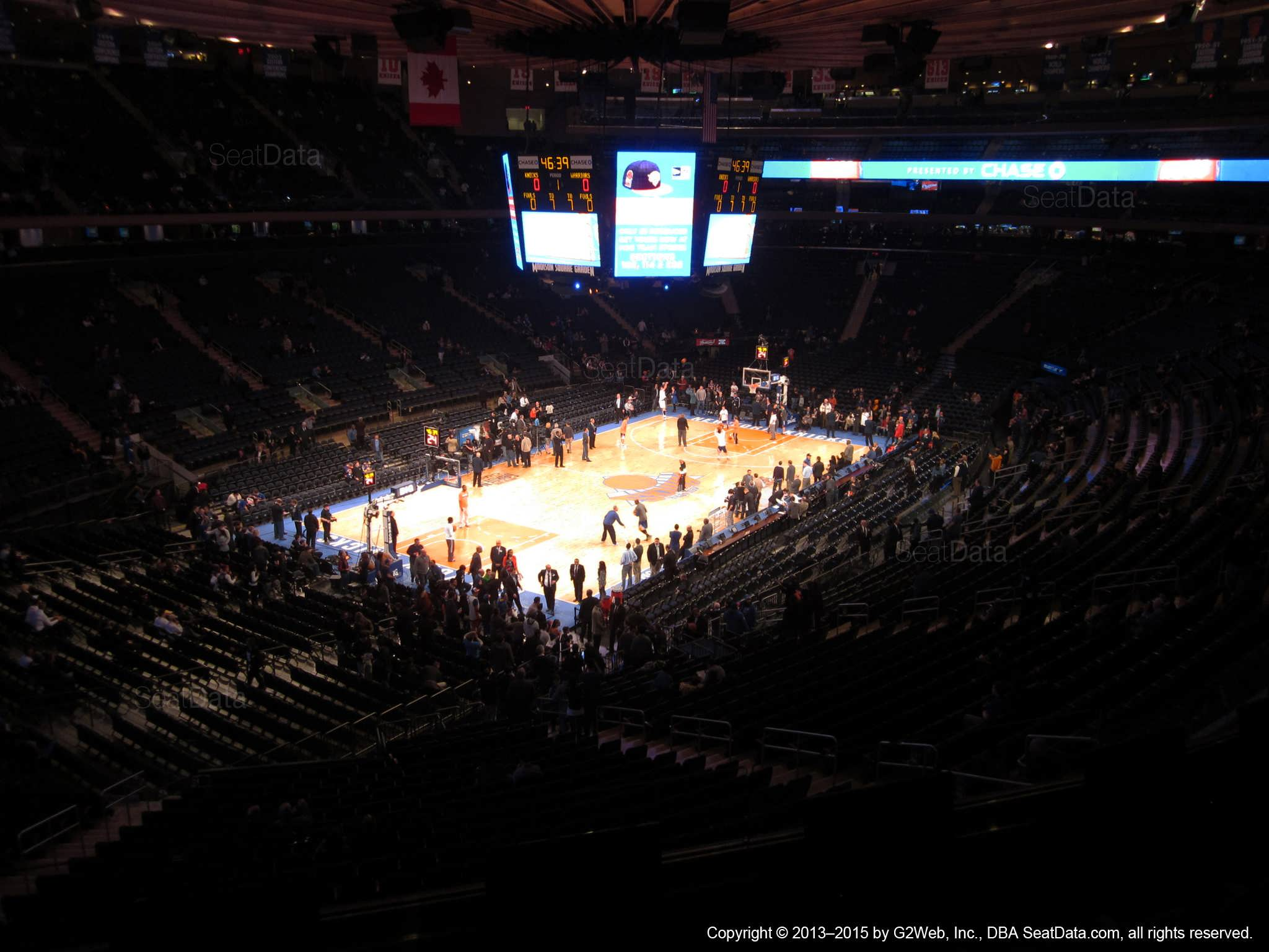 Seat view from section 207 at Madison Square Garden, home of the New York Knicks.