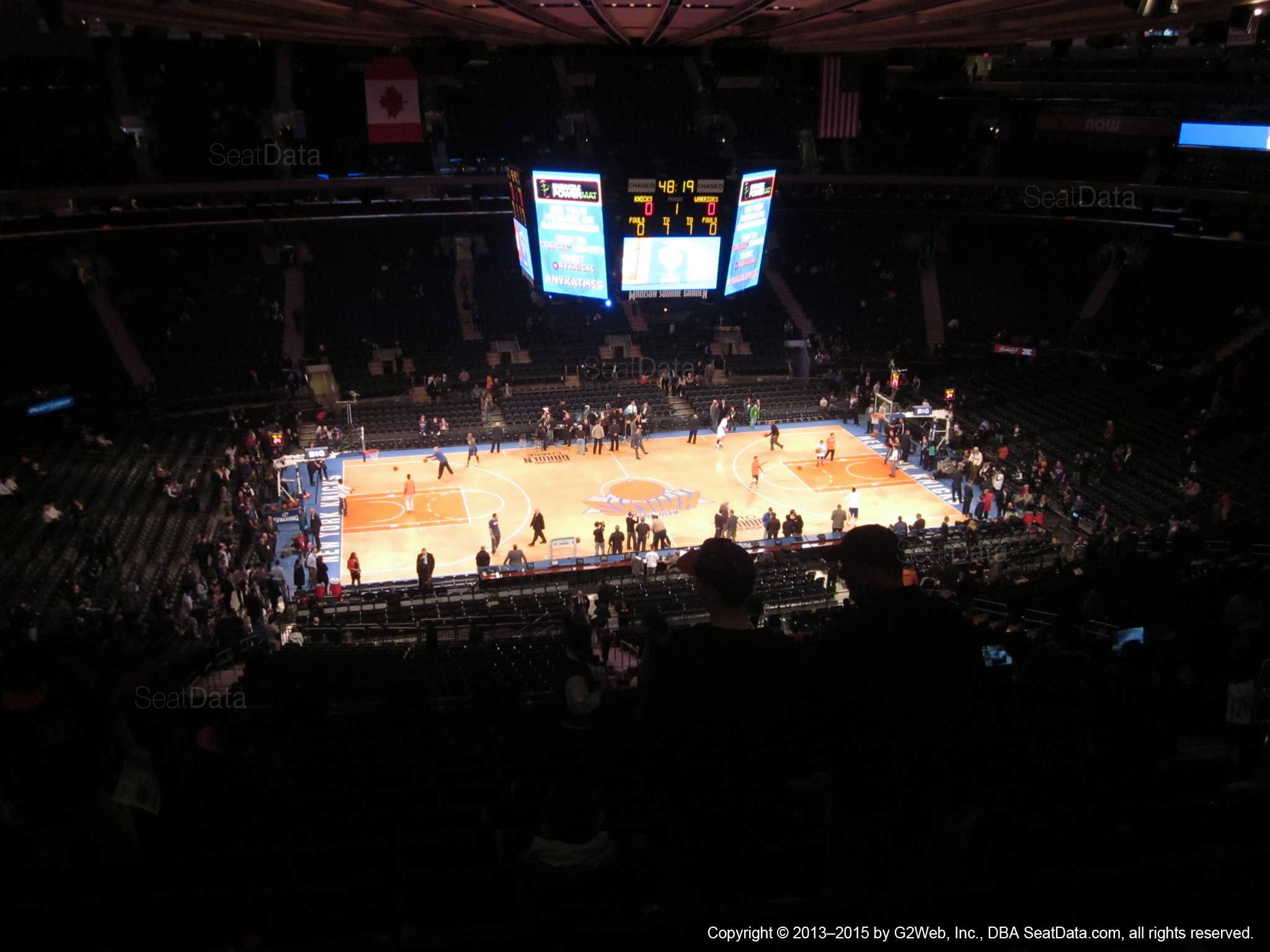 Seat view from section 210 at Madison Square Garden, home of the New York Knicks.