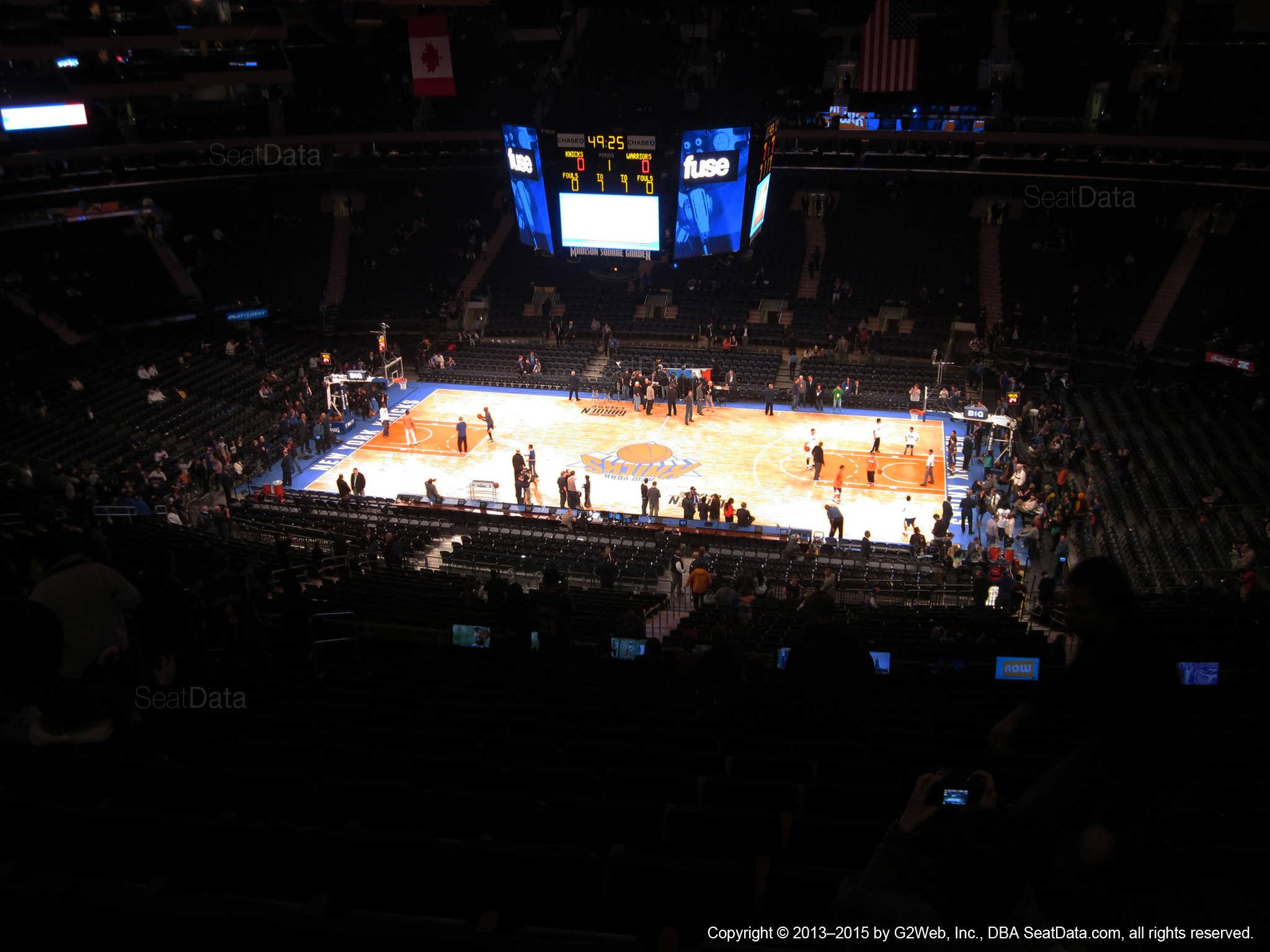 Seat view from section 212 at Madison Square Garden, home of the New York Knicks.