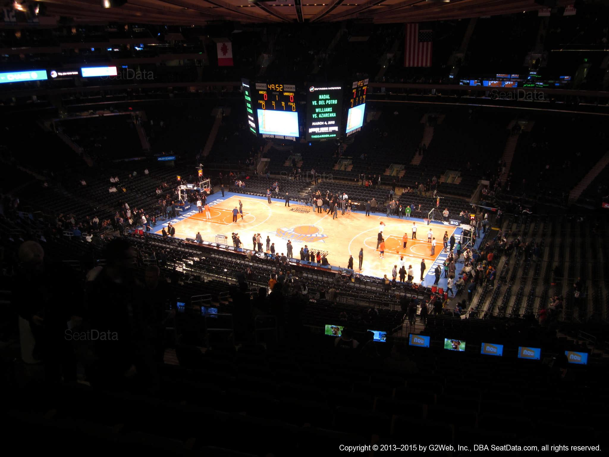 Seat view from section 213 at Madison Square Garden, home of the New York Knicks.