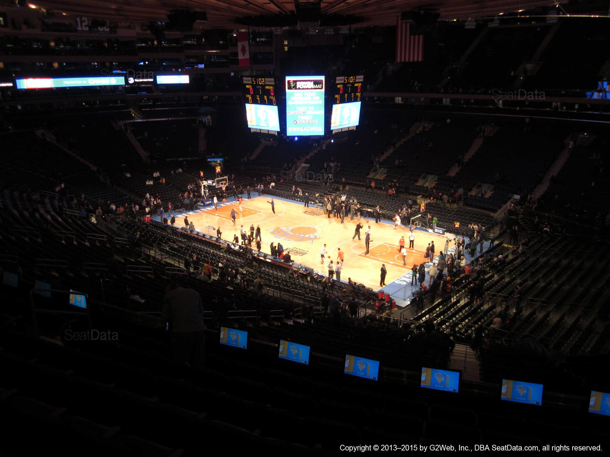 Seat view from section 214 at Madison Square Garden, home of the New York Knicks.