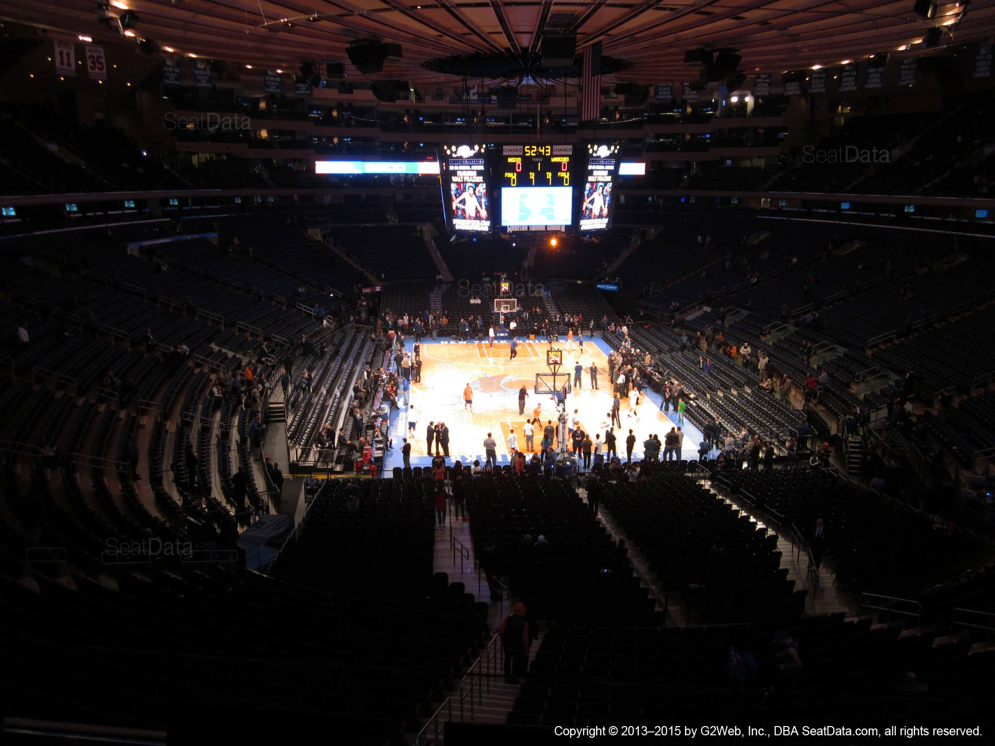 Seat view from section 217 at Madison Square Garden, home of the New York Knicks.